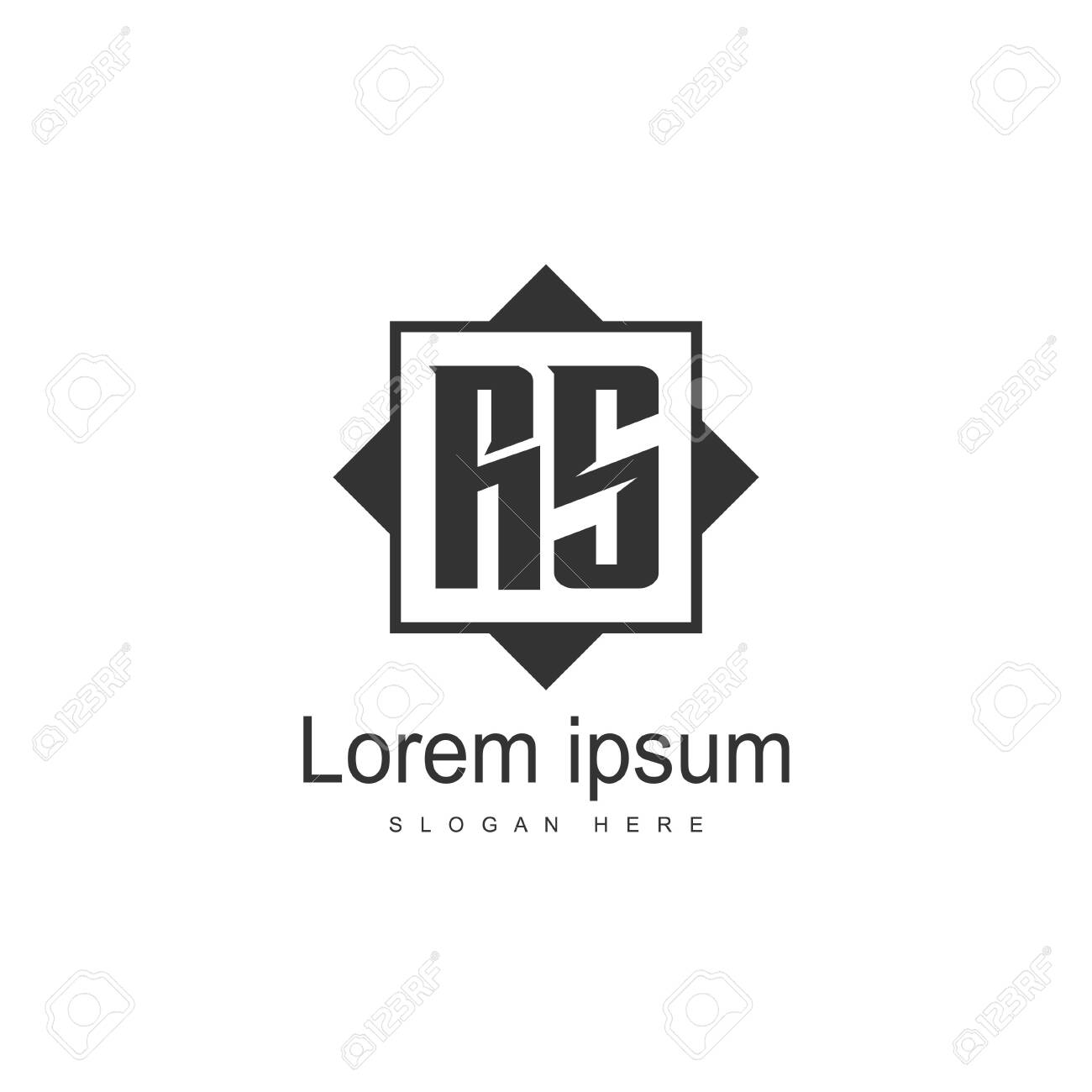 Initial RS Logo Template. Minimalist letter logo template design - 128777101