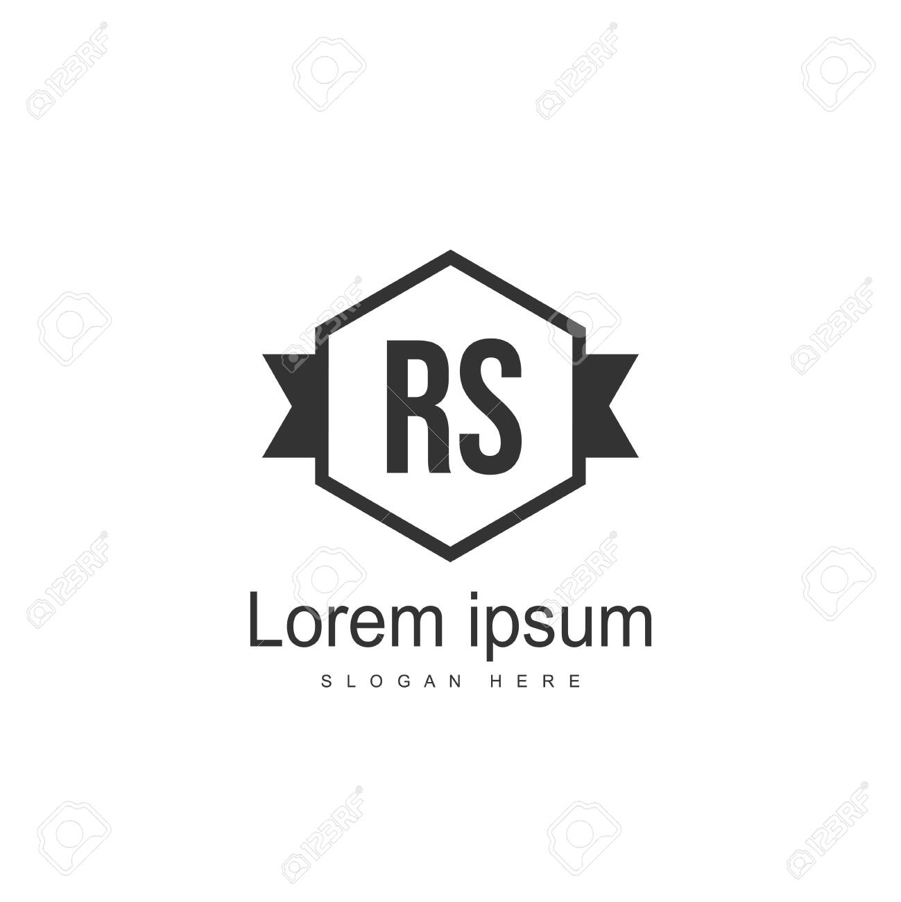 Initial RS Logo Template. Minimalist letter logo template design - 128777867