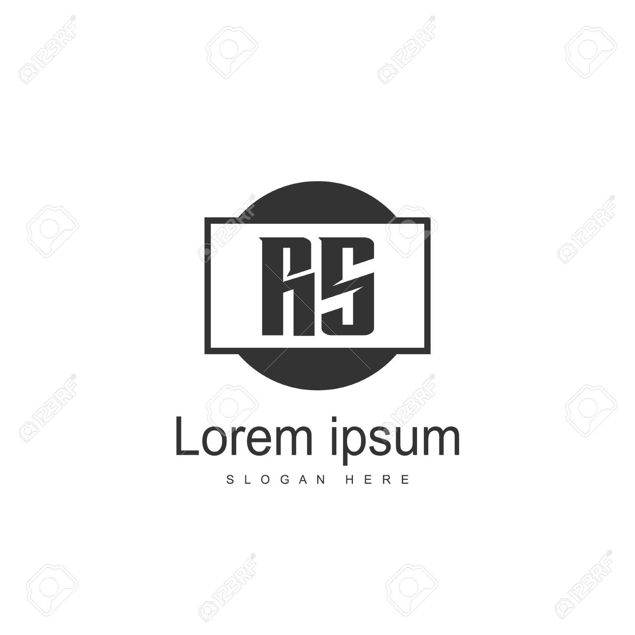 Initial RS Logo Template. Minimalist letter logo template design - 128777895