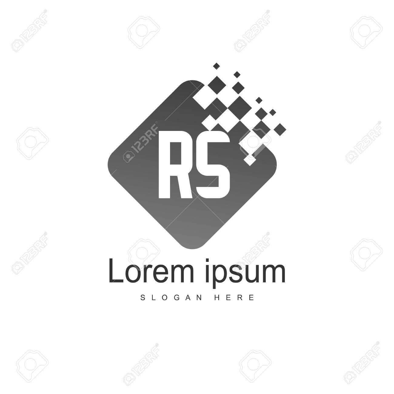 Initial RS Logo Template. Minimalist letter logo template design - 128777904