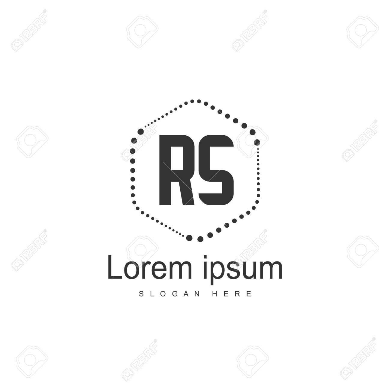 Initial RS Logo Template. Minimalist letter logo template design - 128778014
