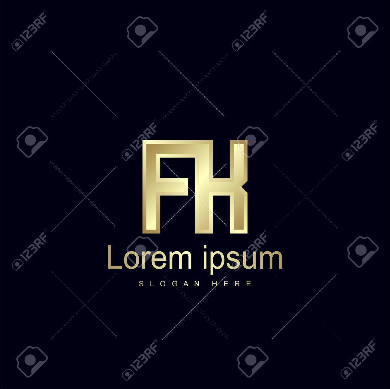 Initial Letter FK Logo Template Vector Design - 128881738