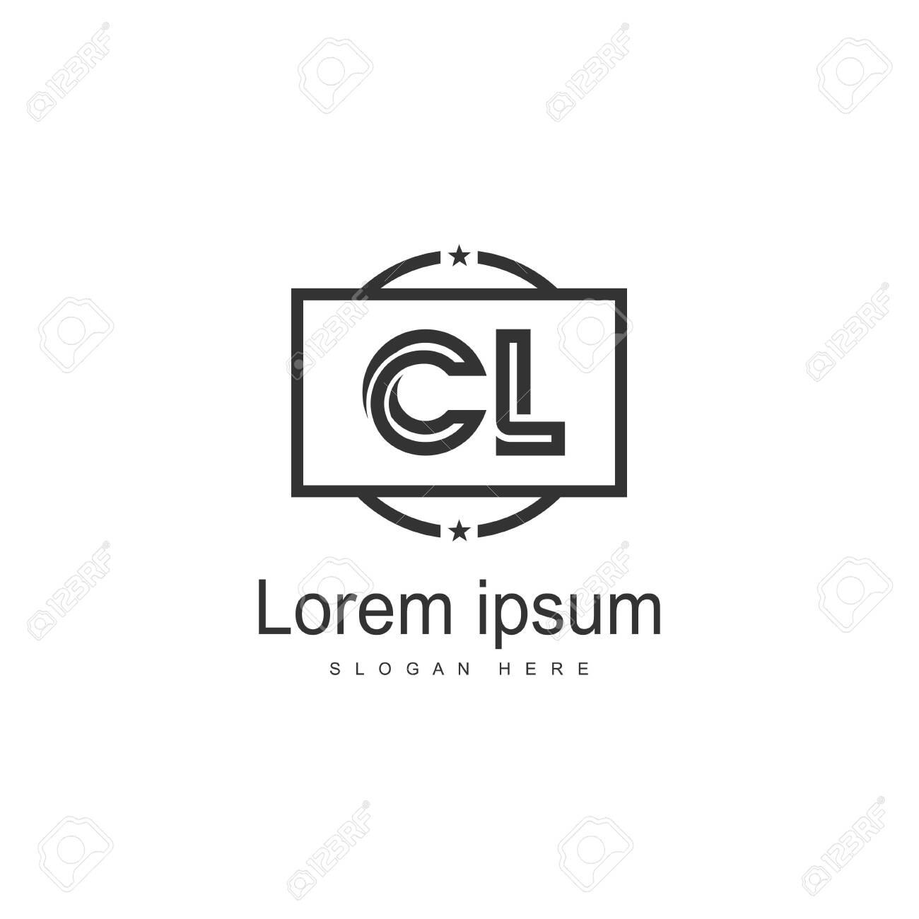 Initial CL logo template with modern frame. Minimalist CL letter logo vector illustration - 129276601