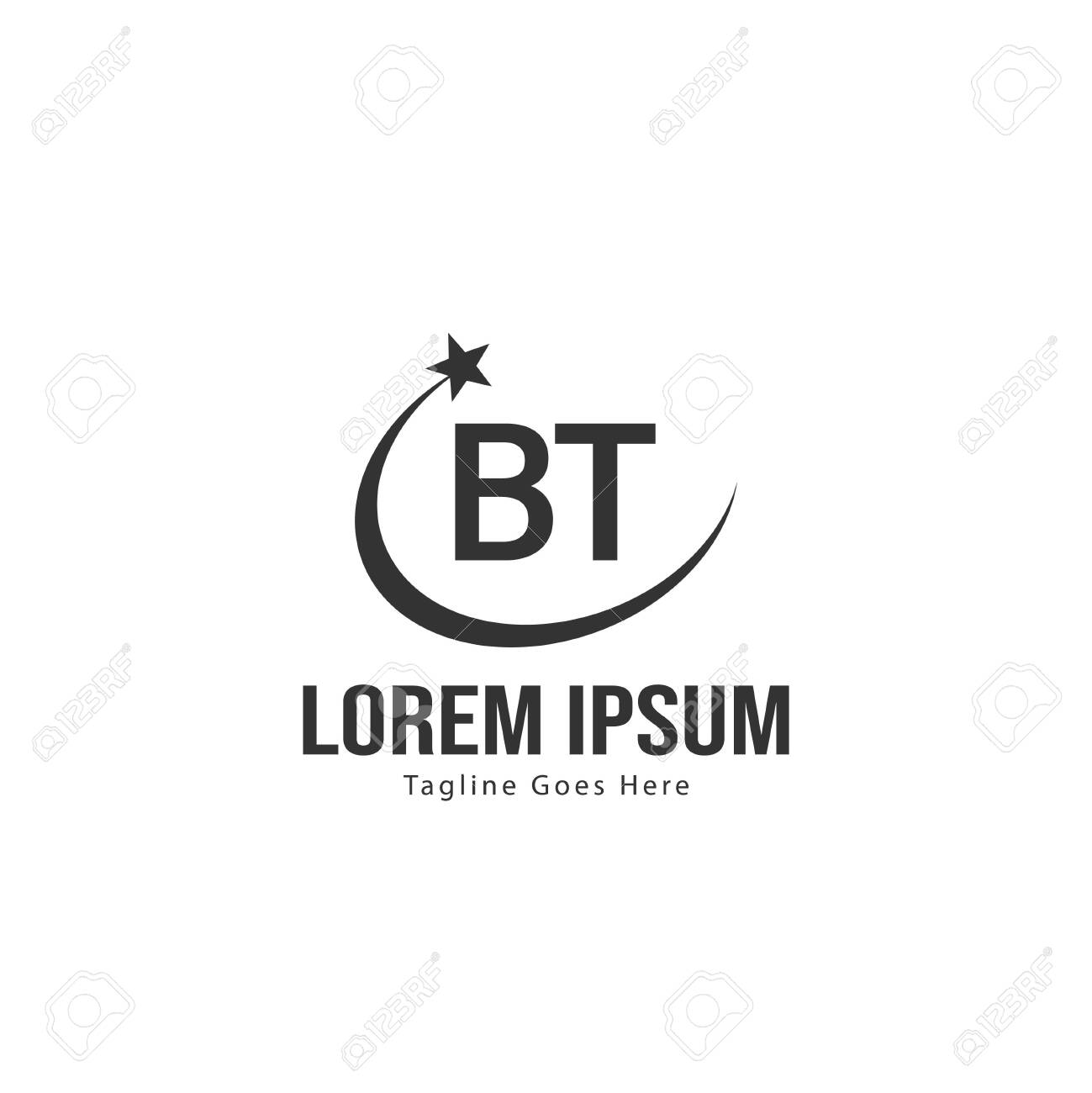 BT Letter Logo Design. Creative Modern BT Letters Icon Illustration - 129369134