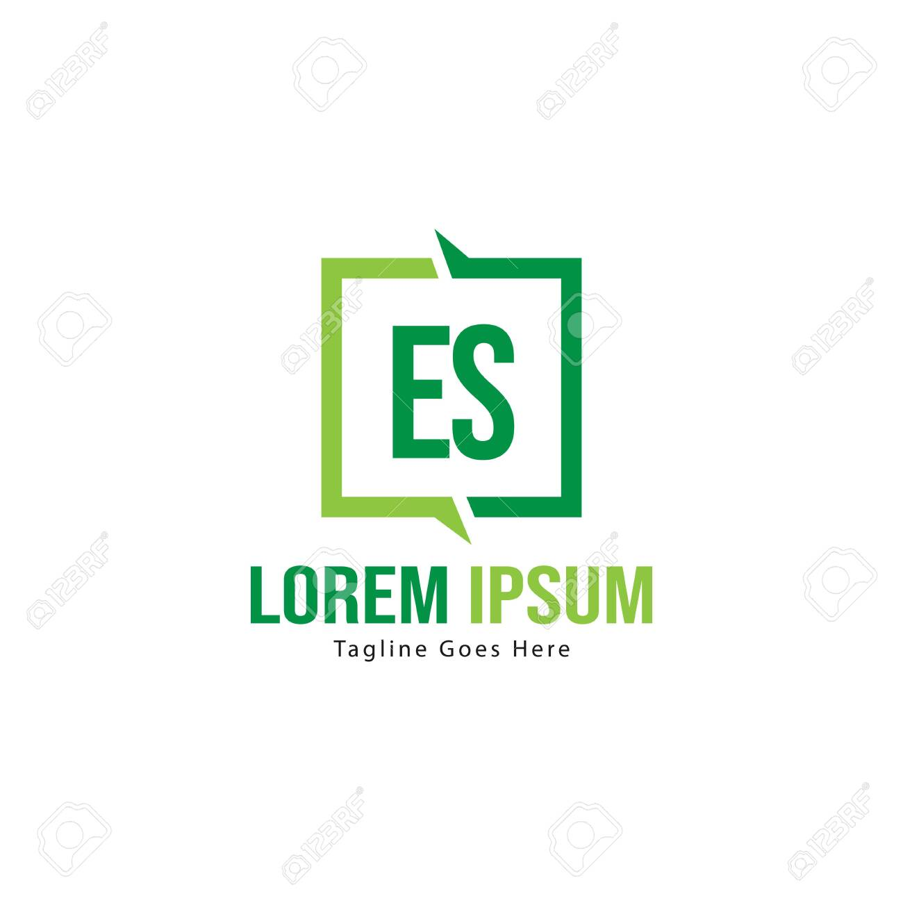 Initial ES logo template with modern frame. Minimalist ES letter logo vector illustration - 129492901