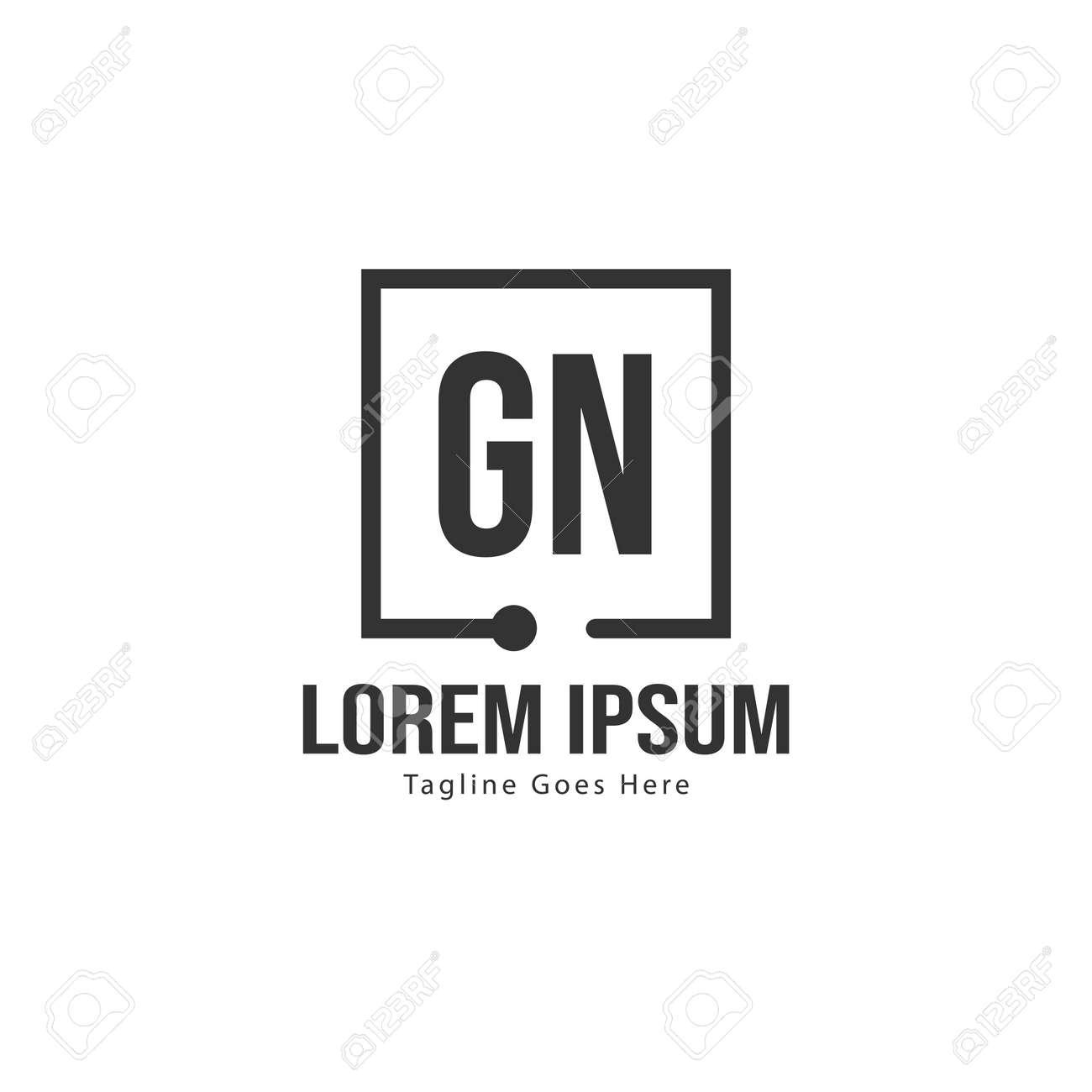 Initial GN logo template with modern frame. Minimalist GN letter logo vector illustration - 129169780