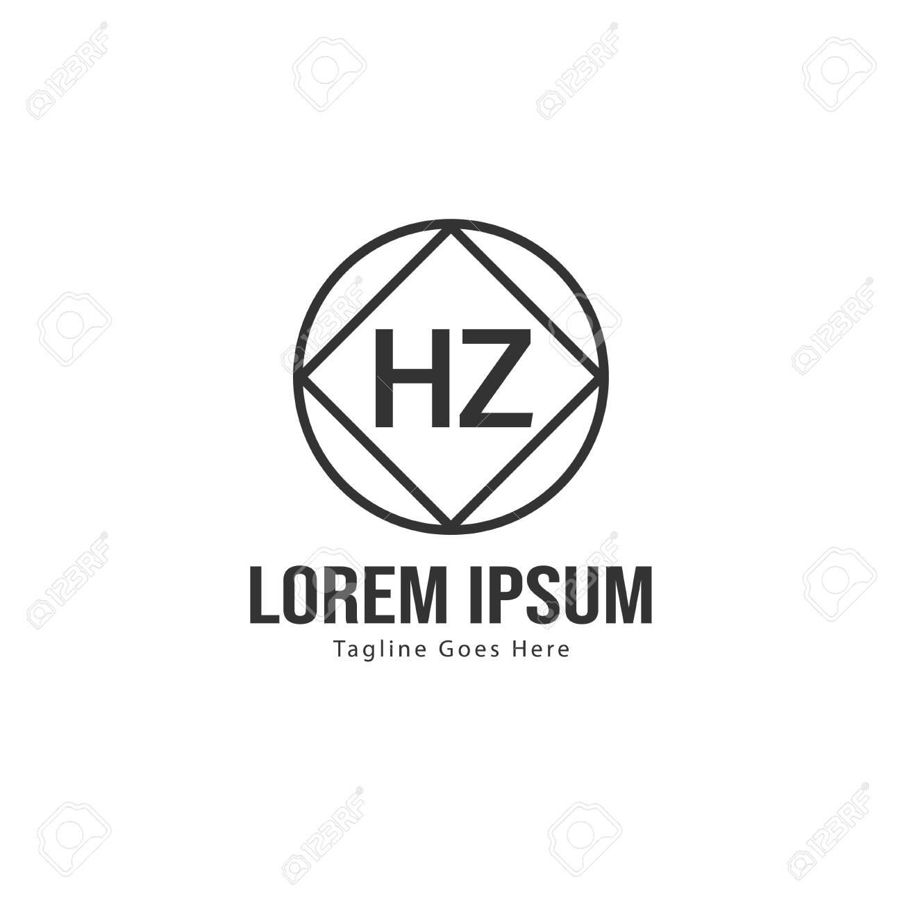 Initial HZ logo template with modern frame. Minimalist HZ letter logo vector illustration - 128894928