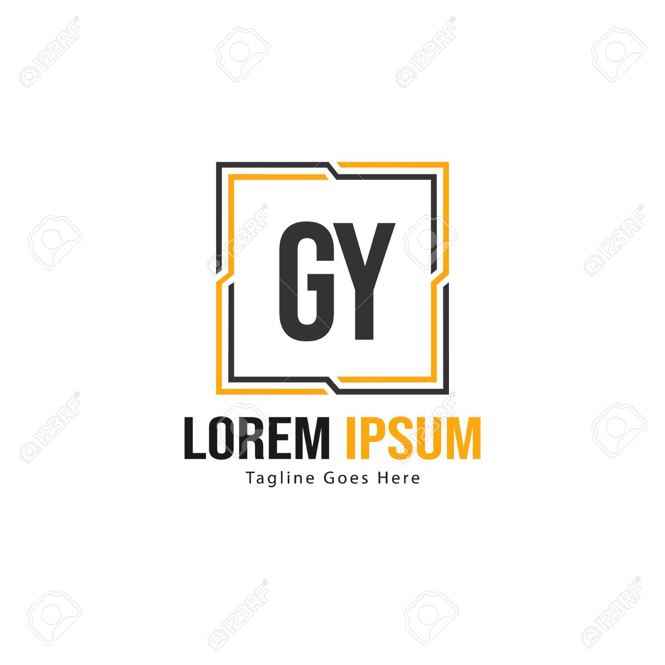 Initial GY logo template with modern frame. Minimalist GY letter logo vector illustration - 128895837