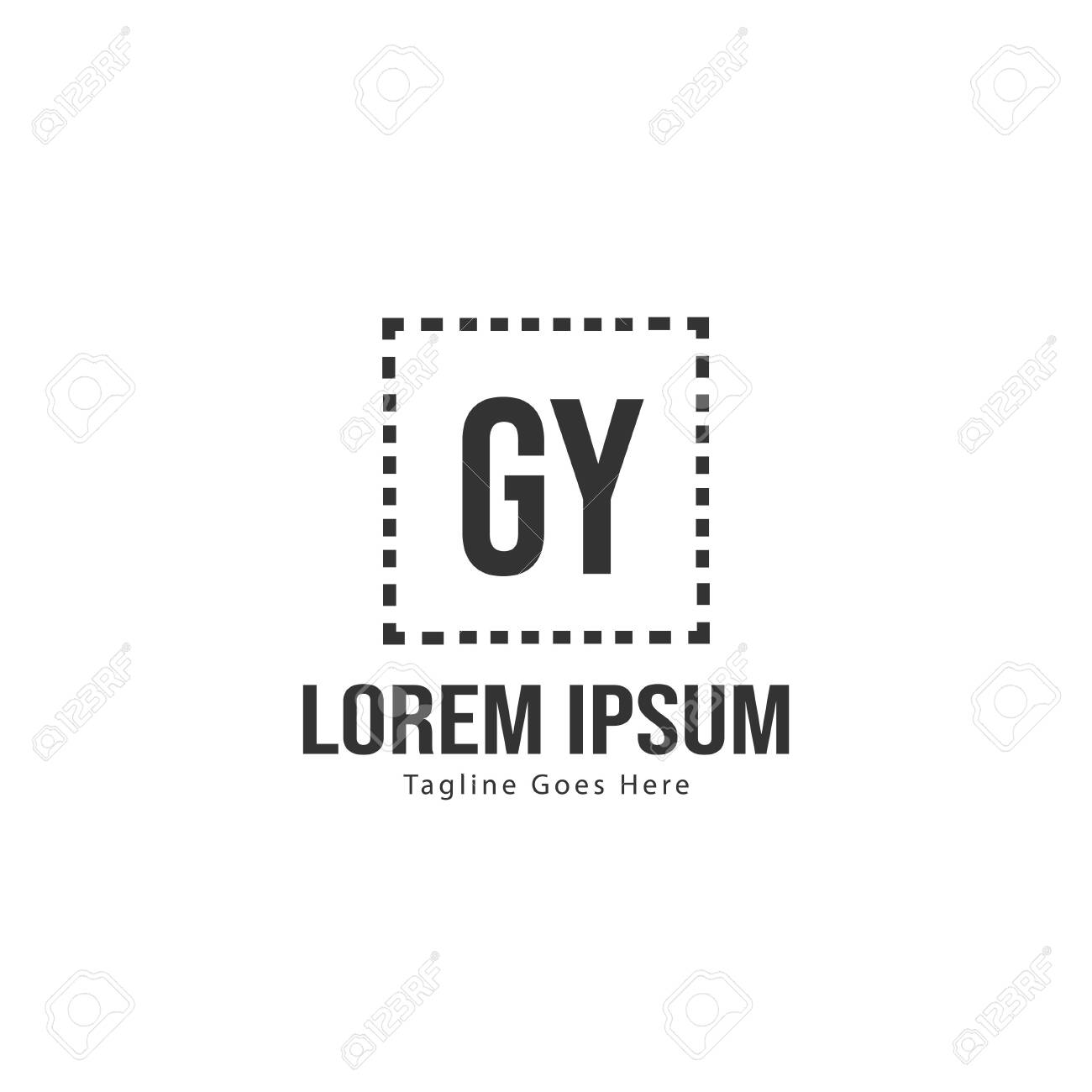 Initial GY logo template with modern frame. Minimalist GY letter logo vector illustration - 128897958