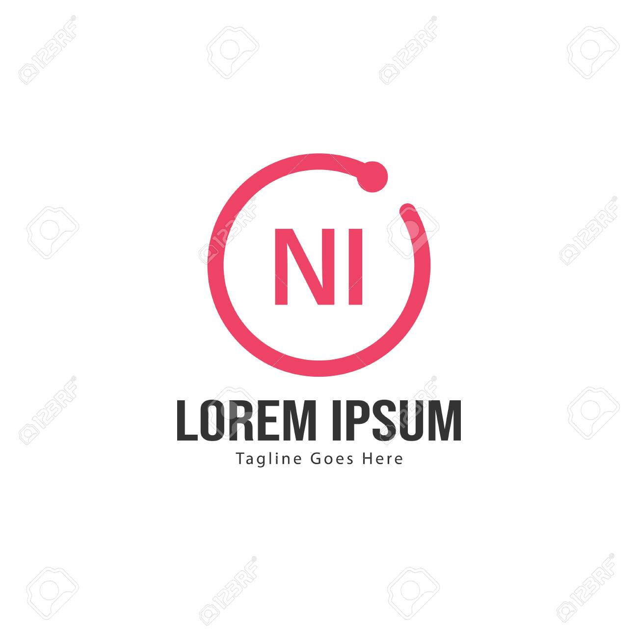 Initial NI logo template with modern frame. Minimalist NI letter logo vector illustration - 130026703