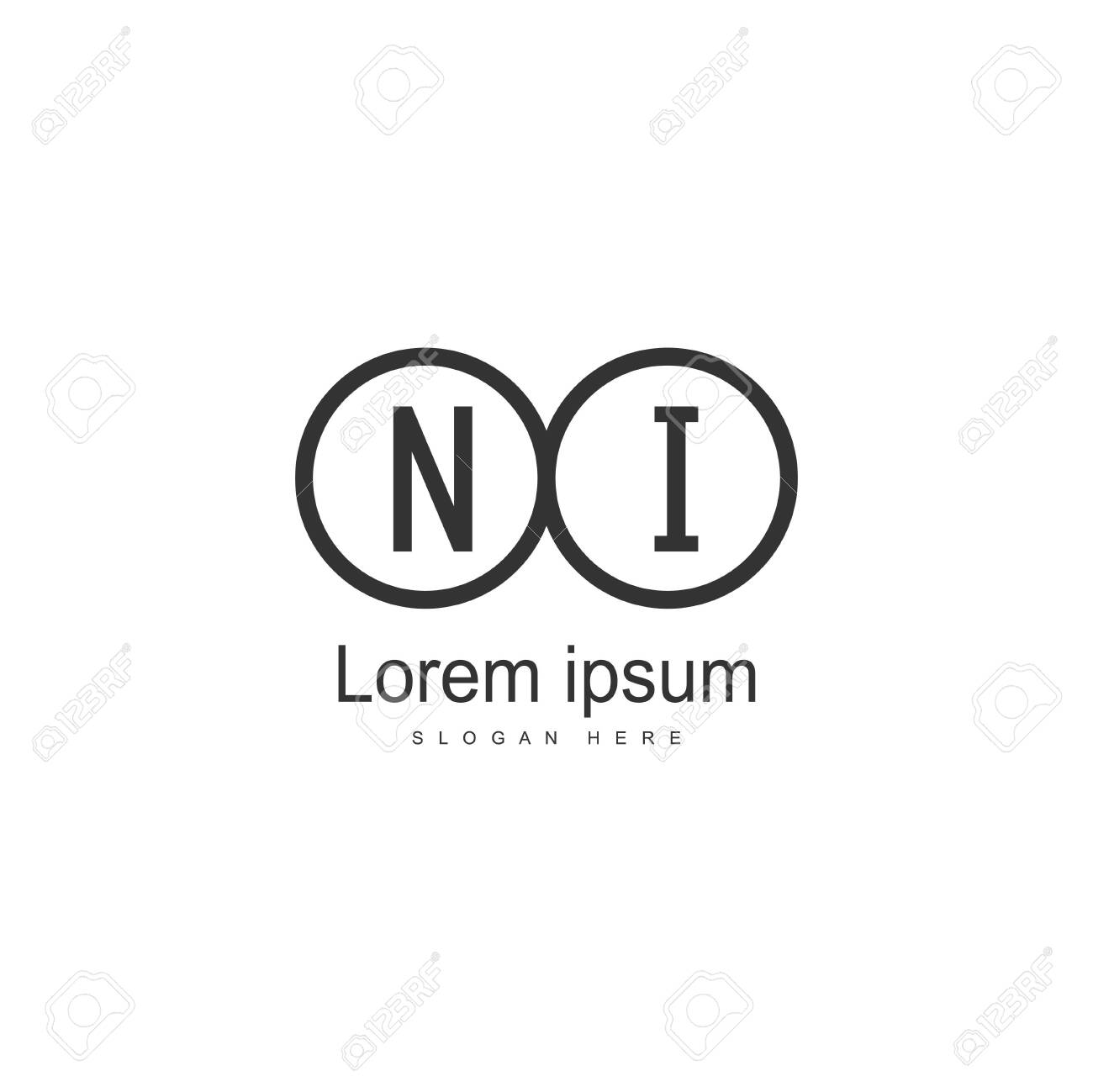 Initial NI logo template with modern frame. Minimalist NI letter logo vector illustration - 130028579