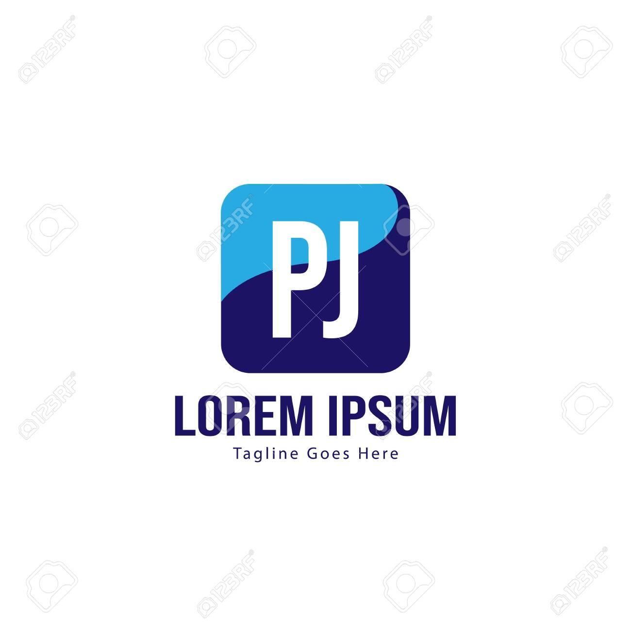 Initial PJ logo template with modern frame. Minimalist PJ letter logo illustration - 130499512