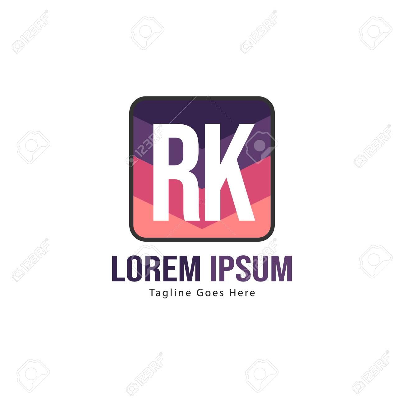 Initial RK logo template with modern frame. Minimalist RK letter logo vector illustration - 128821962