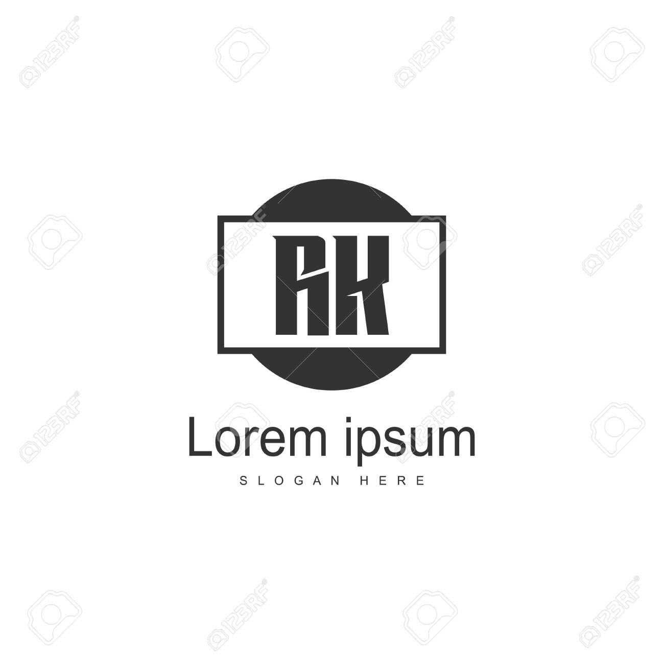 Initial RK logo template with modern frame. Minimalist RK letter logo vector illustration - 128898024