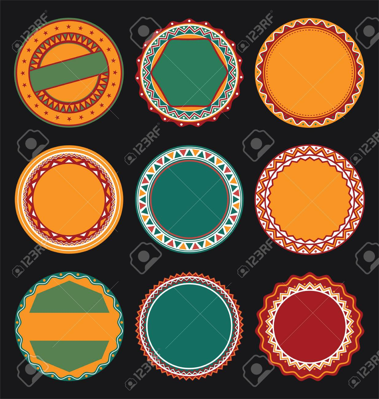 Collection of mexican round decorative border frames with black collection of mexican round decorative border frames with black filled background stock vector 53100244 thecheapjerseys Images