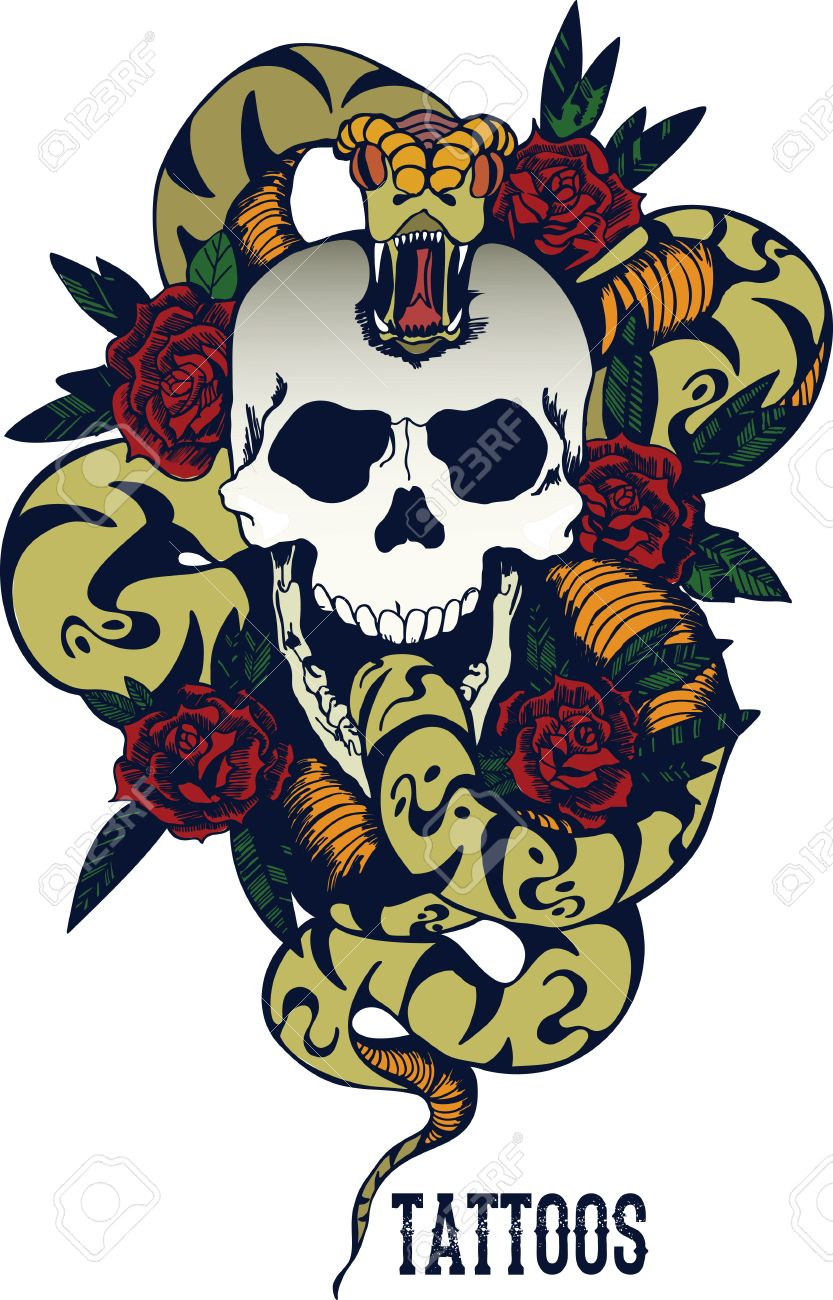 Skull with snake and five roses tattoo - 54758211