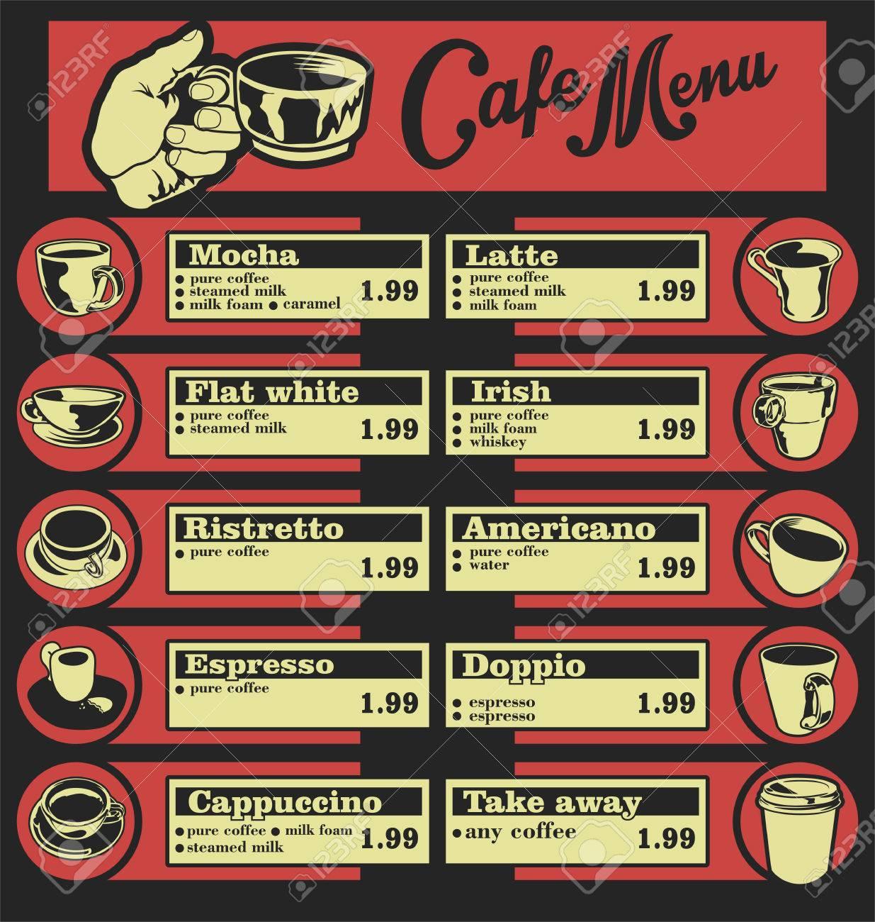 Set Kaffee-Menü Mit Tassen Kaffee-Getränke Abbildungen 6 Lizenzfrei ...