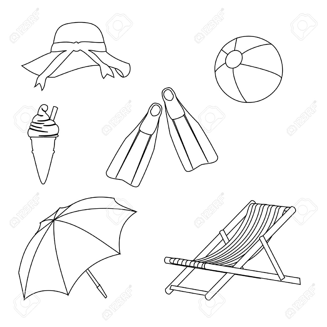 Beach chair and umbrella sketch - Deck Chair Beach Objects Line Style Drawing