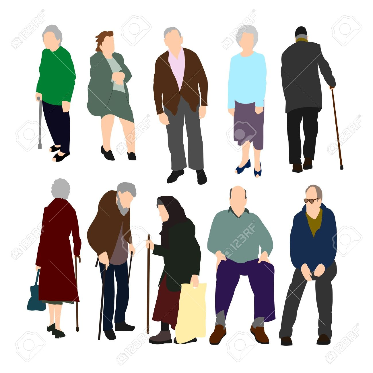 Old People Set No.1. Stock Vector - 9805818