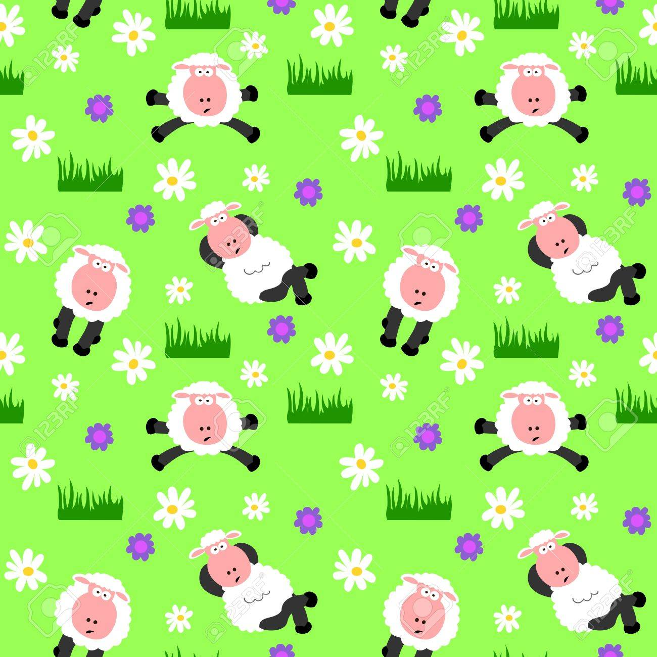 Seamless Sheep Background Stock Vector - 12352230