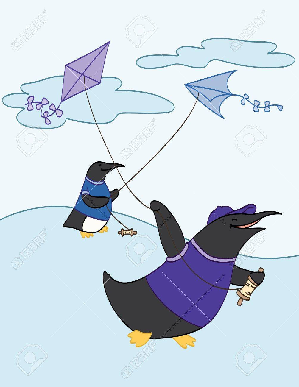 Flying Kites with Friends Stock Vector - 18365821