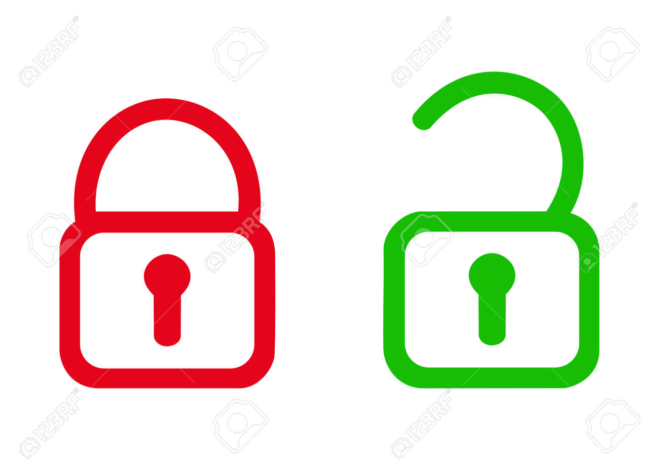 OPEN PADLOCK AND CLOSED PADLOCK ICON. RED AND GREEN WITH WHITE BACKGROUND. - 168891704