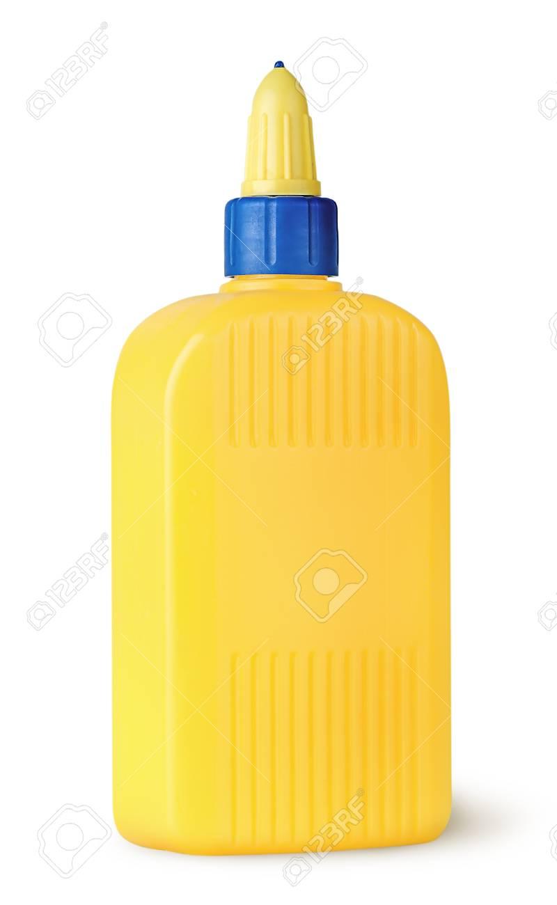 plastikflasche aus leim gedreht isoliert auf weißem hintergrund