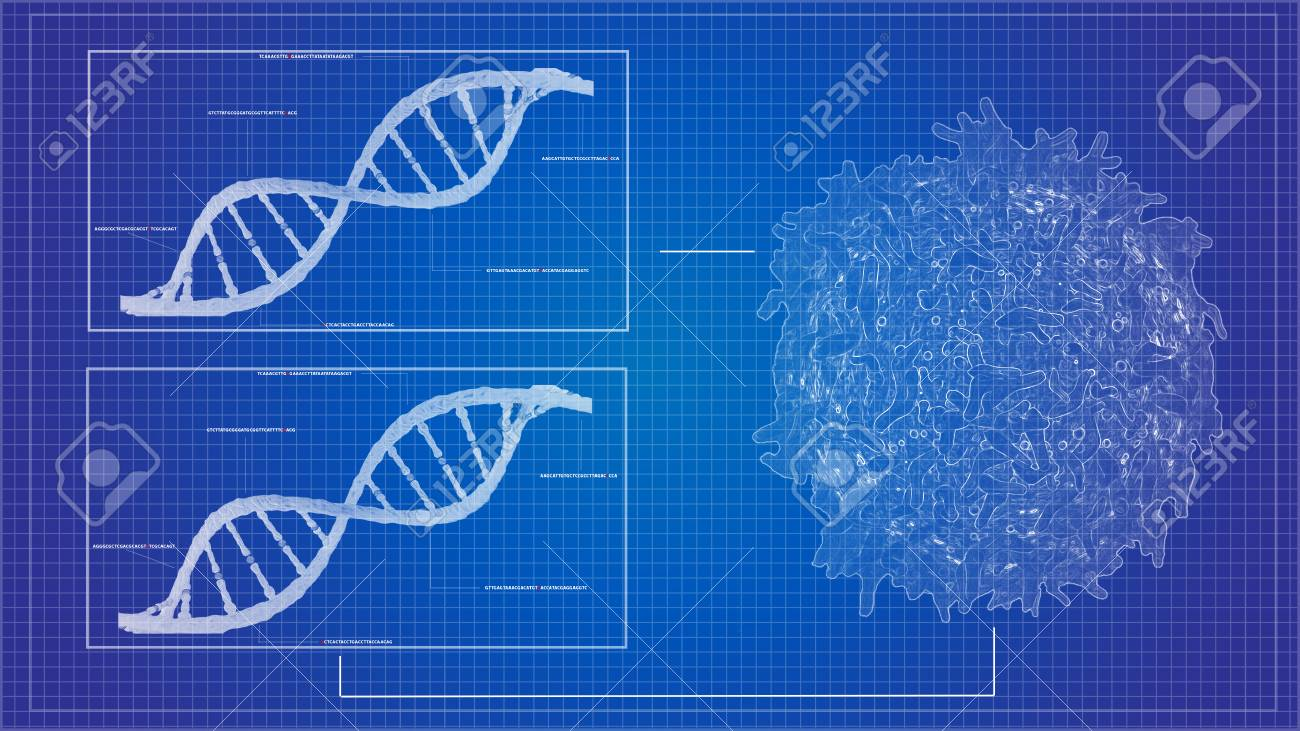 Blueprint concept of cancer cell lymphocyte t and dna helix blueprint concept of cancer cell lymphocyte t and dna helix background sequencing data analysis stock photo malvernweather Choice Image