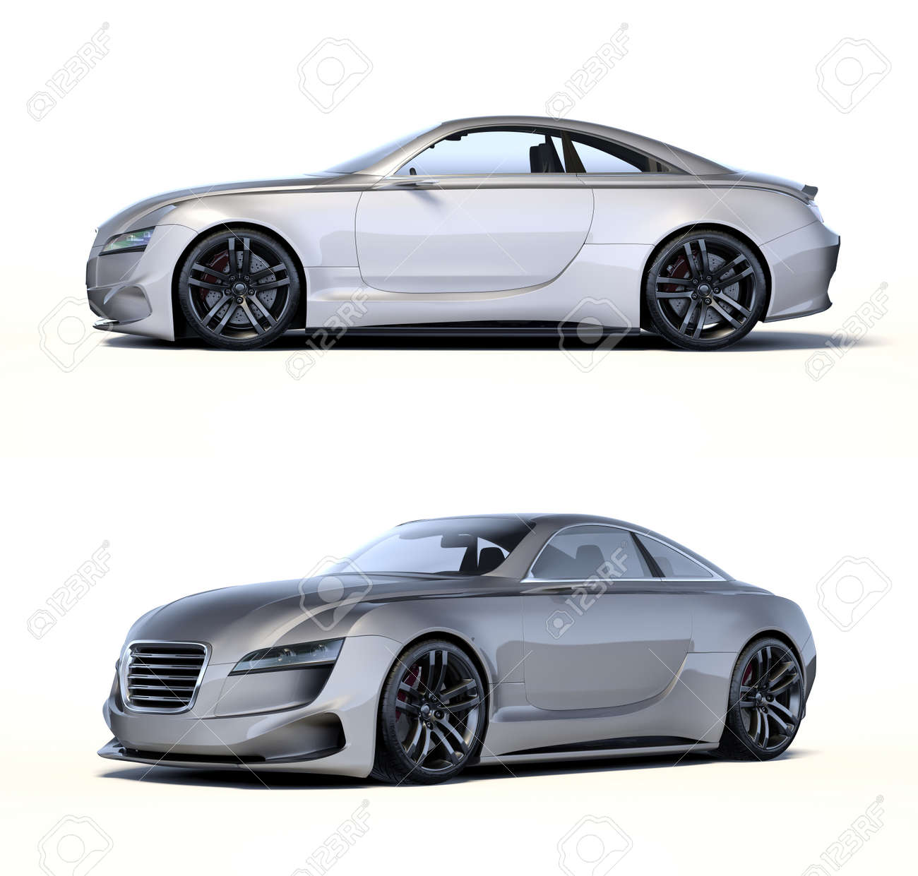3D rendering of a brand-less generic concept car in studio environment - 158610286