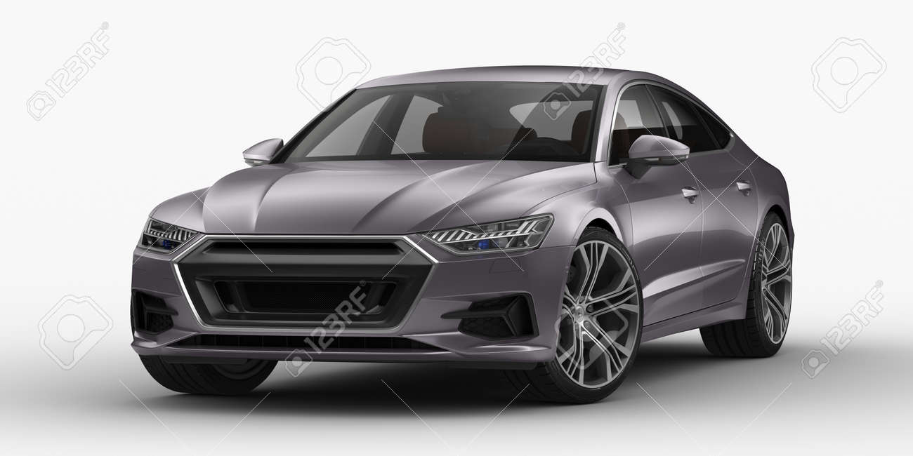 3D rendering of a brand-less generic concept car in studio environment - 158611855
