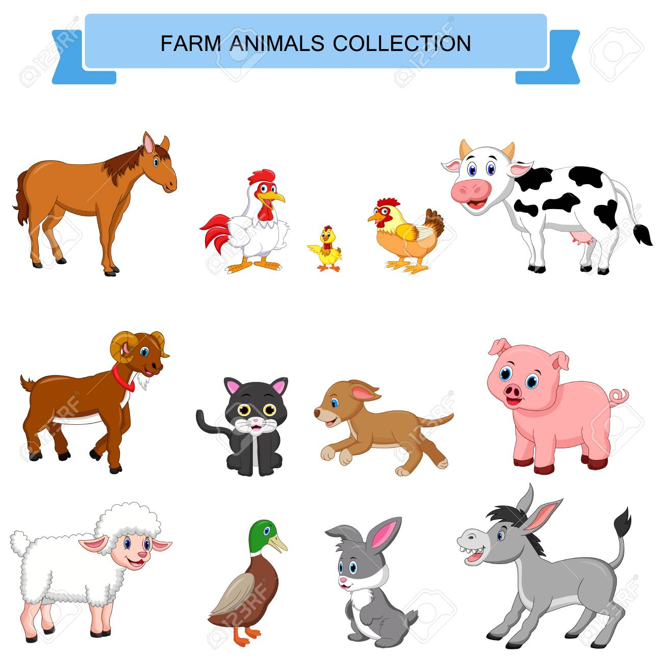 Cute farm animals cow, pig, sheep and horse. - Download Free ... | 1300x1300