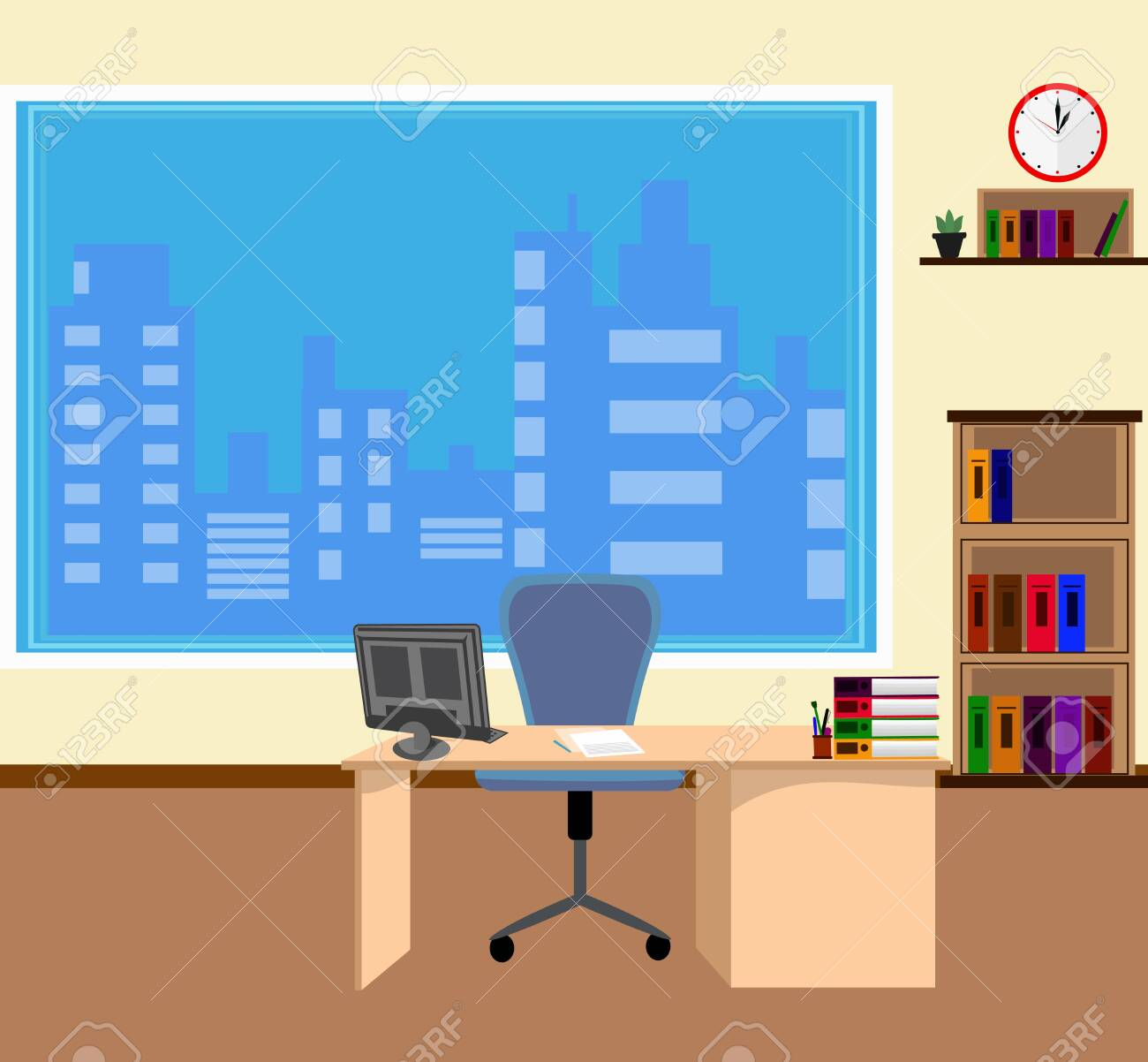 Office interior in flat style. Modern business workspace with..