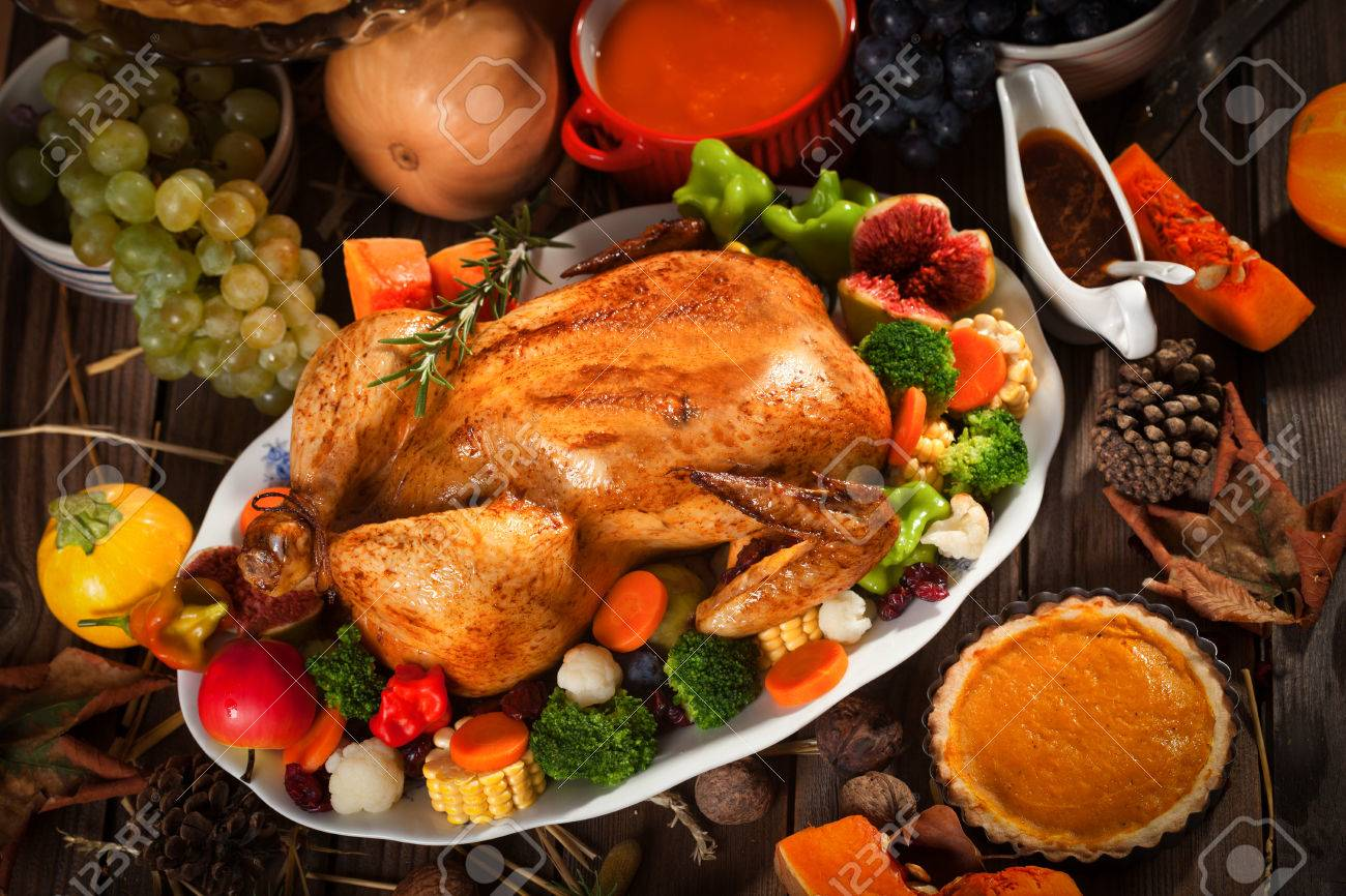 Dinner table with food - Dinner Table No Food Traditional Thanksgiving Dinner Stock Photo