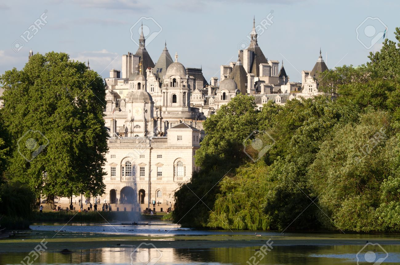 St. James Park with horse guards buildings and St. James pond, London, England Stock Photo - 10958132