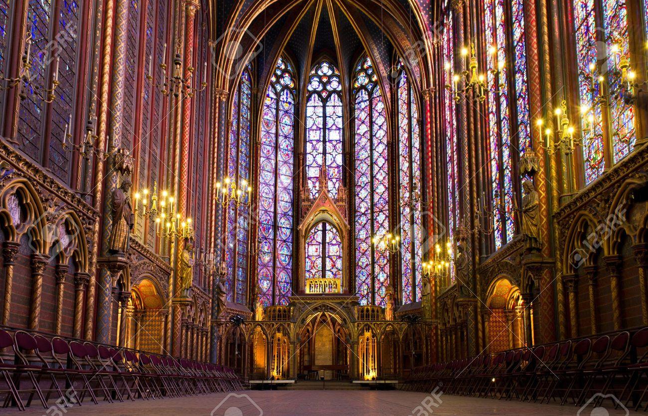 Illuminated Interior Of The Sainte Chapelle Paris France Stock Photo