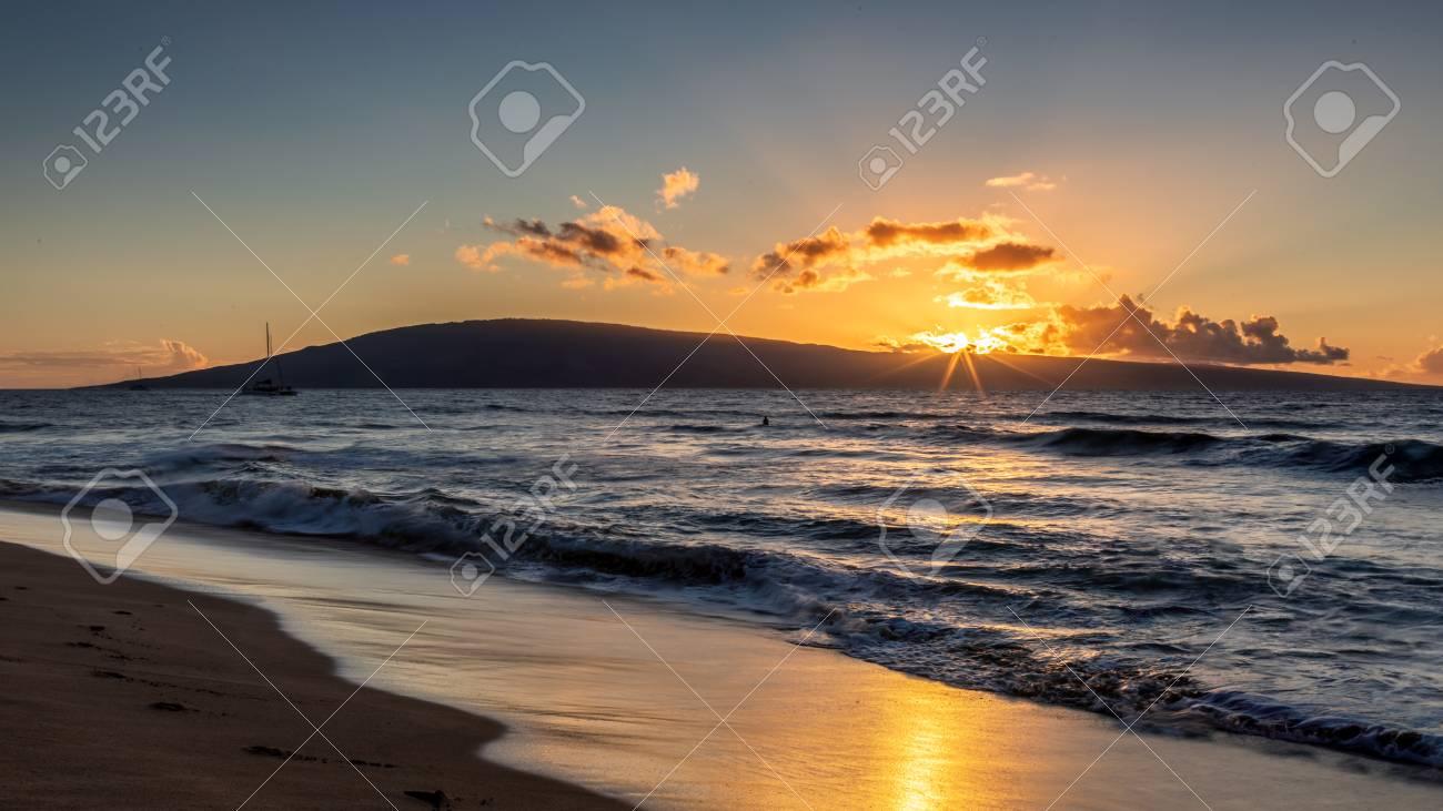 Sunset At Kaanapali Beach Maui Hawaii