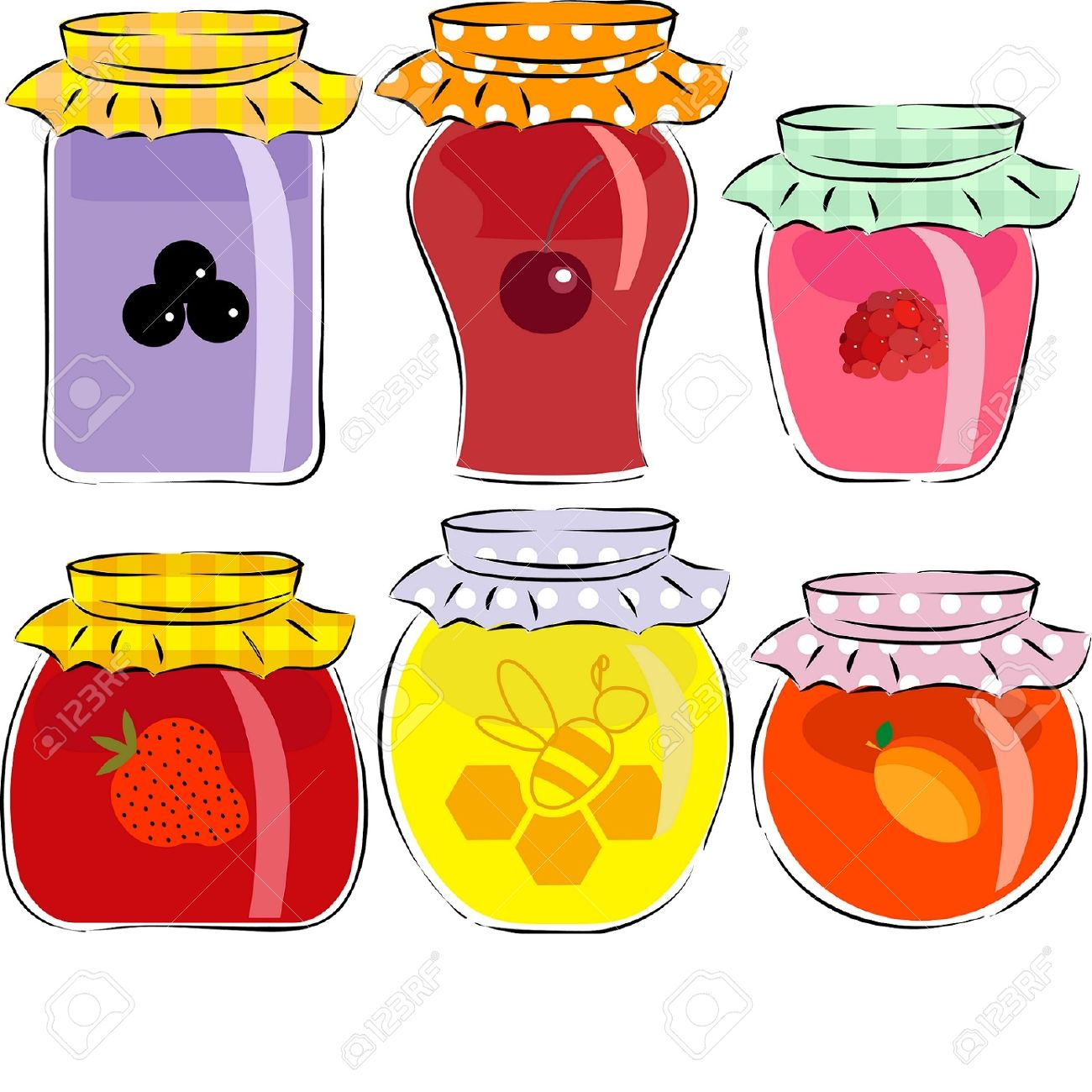 jars of jam and honey isolated on white background Stock Vector - 16613478