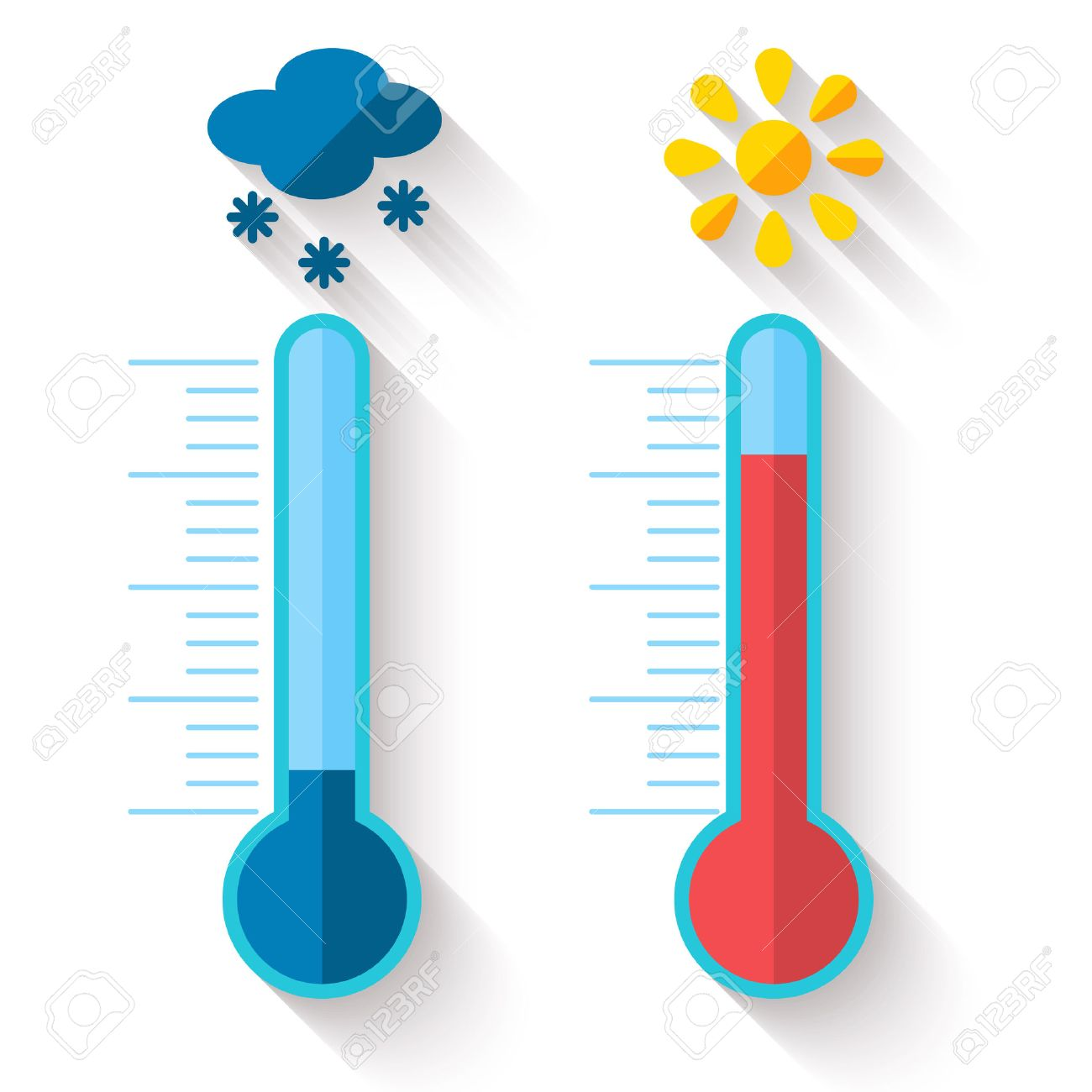 Flat design of Thermometer measuring heat and cold, with sun and snowflake icons, vector illustration - 37885386