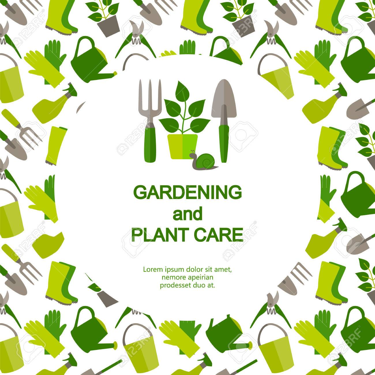 Amazing Flat Design Banner For Gardening And Horticulture With Logo Garden Tools  And Seamless Pattern. Stock