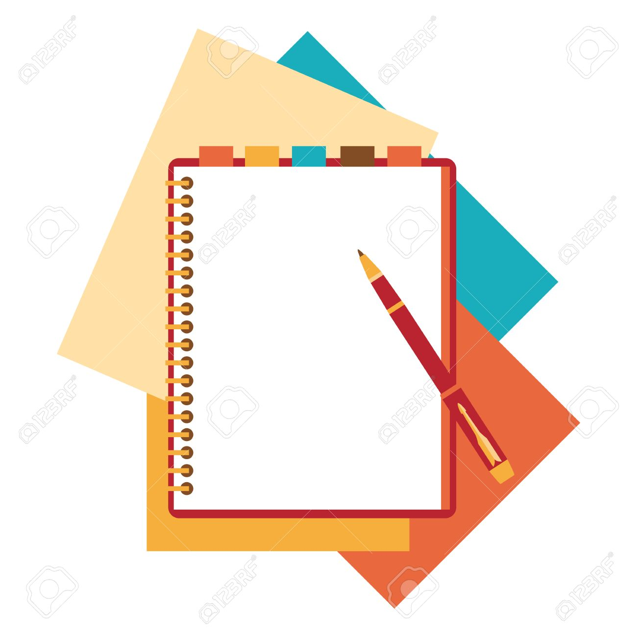 Flat design notepad, paper sheet. - 40981489
