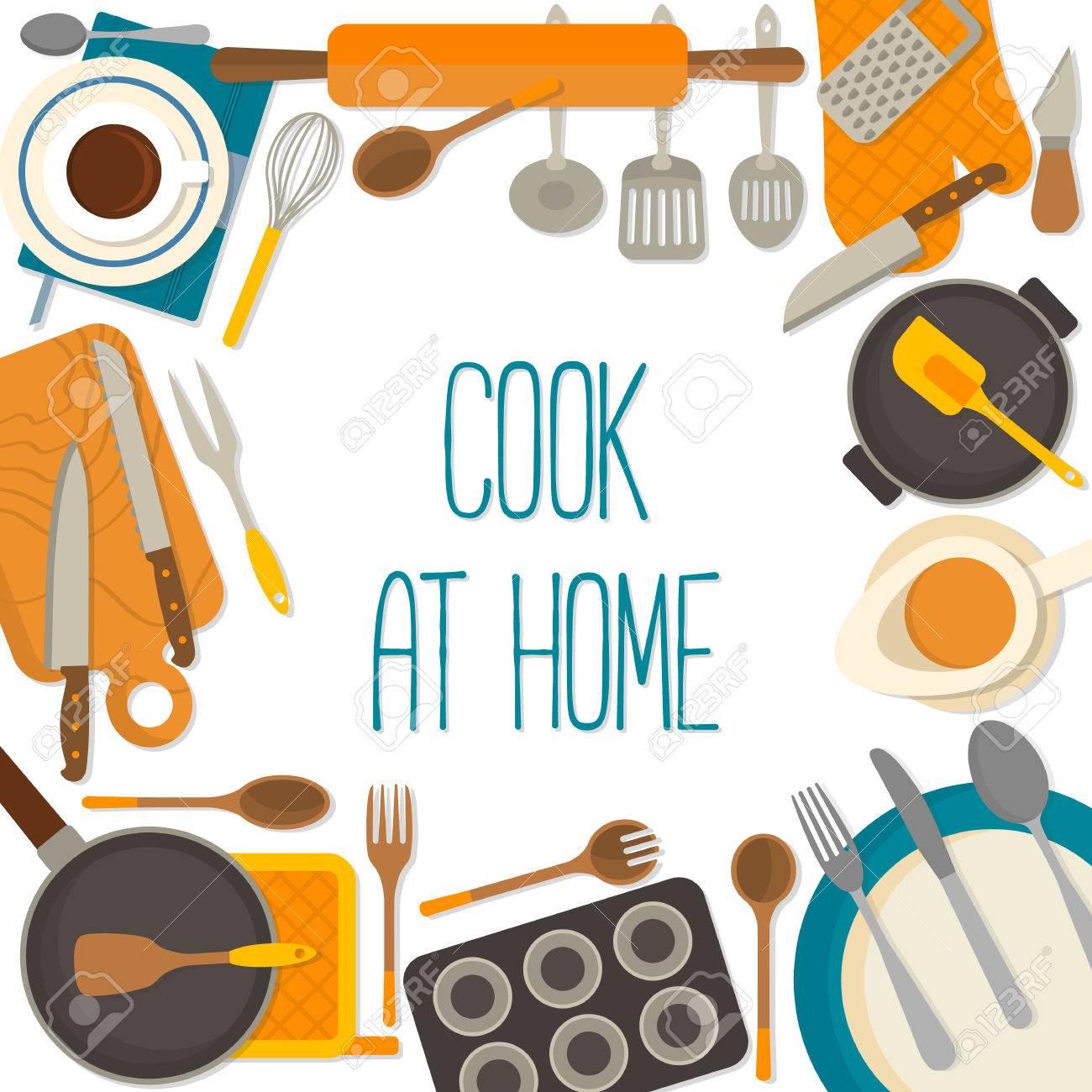 Marco de diseño plano de los utensilios de cocina aisladas sobre fondo  blanco. Ilustración del vector.