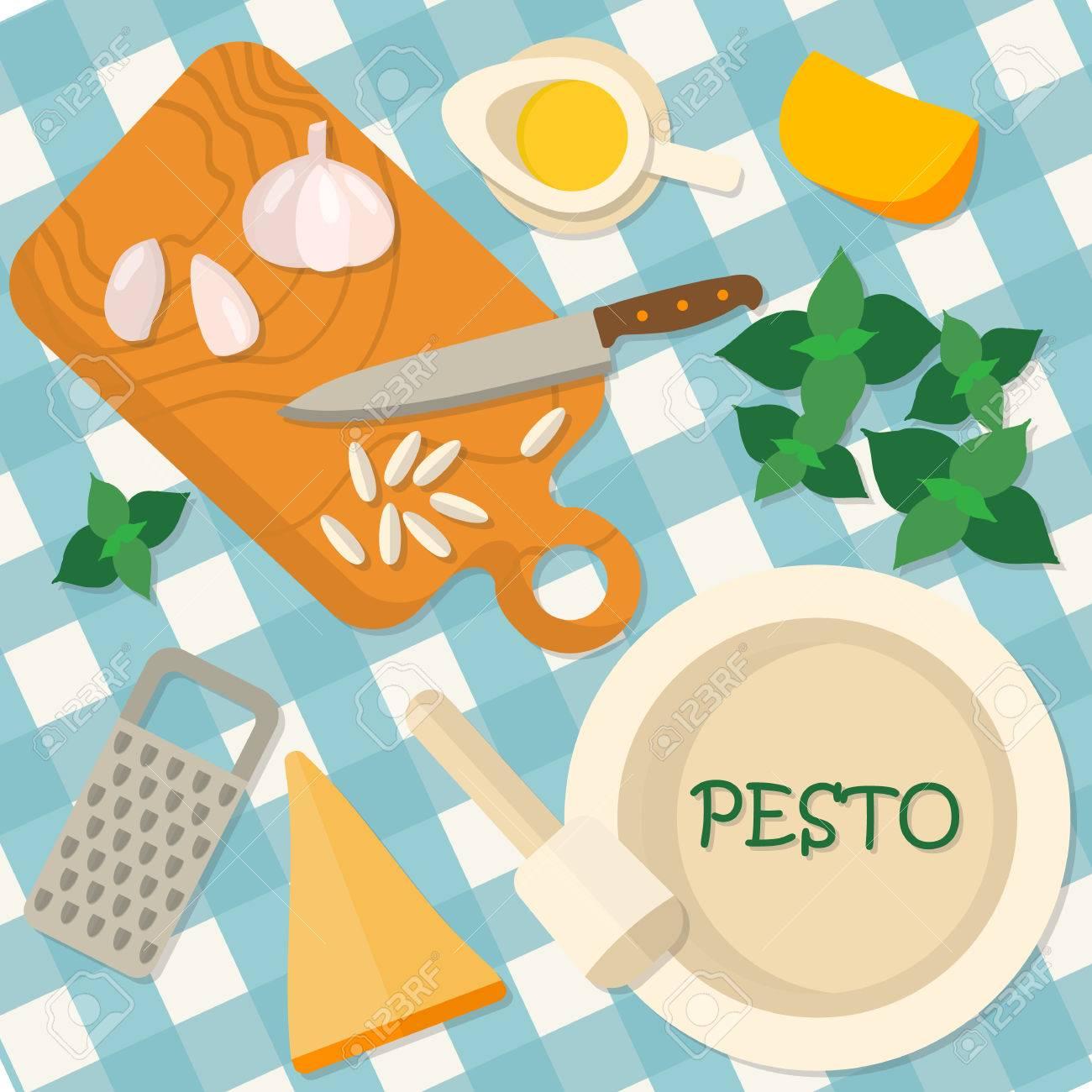 Flaches Design Quadrat Banner Der Italienische Traditionelle Küche ...
