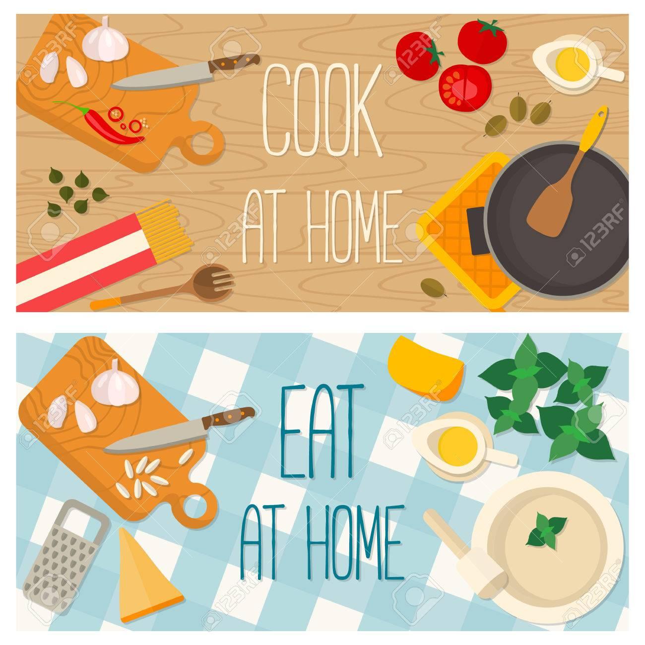 Flaches Design Essen Und Kochen Banner Der Italienische ...