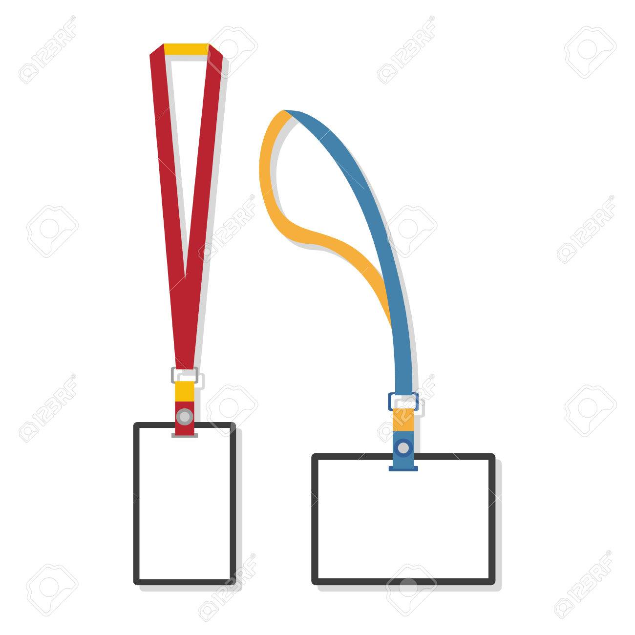 Template, Flat Design Of Lanyard End Badge Isolated On White ...