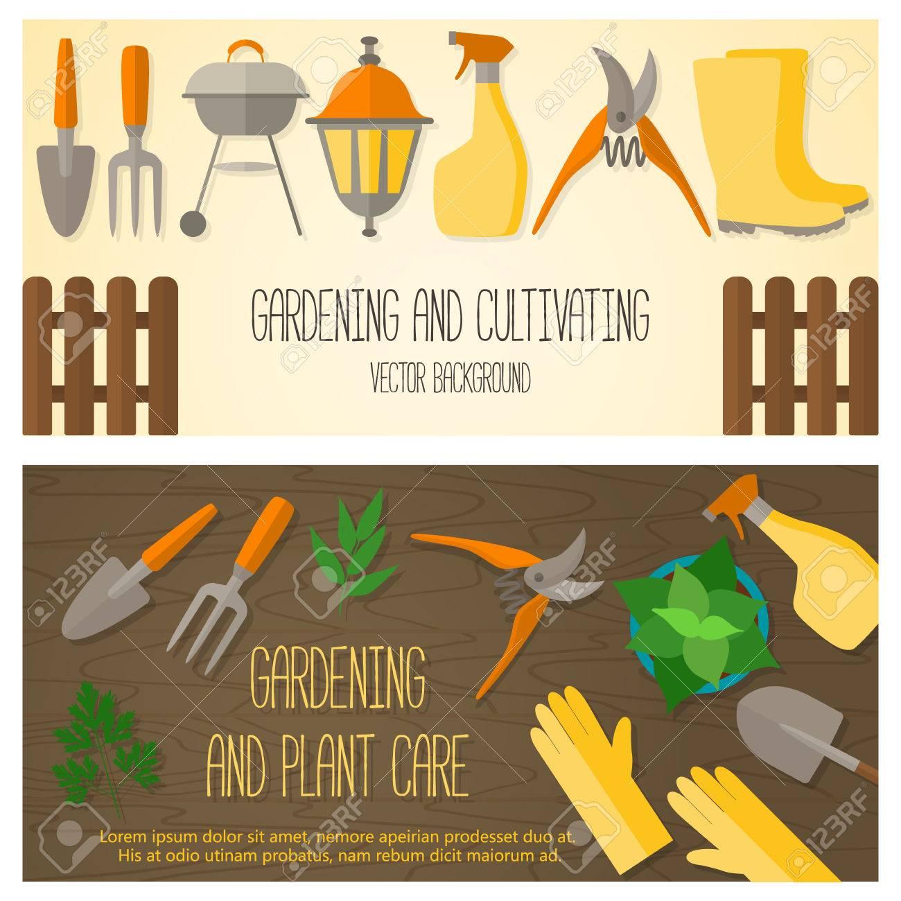 Design Plat Banniere Pour Jardinage Et L Horticulture Avec Des