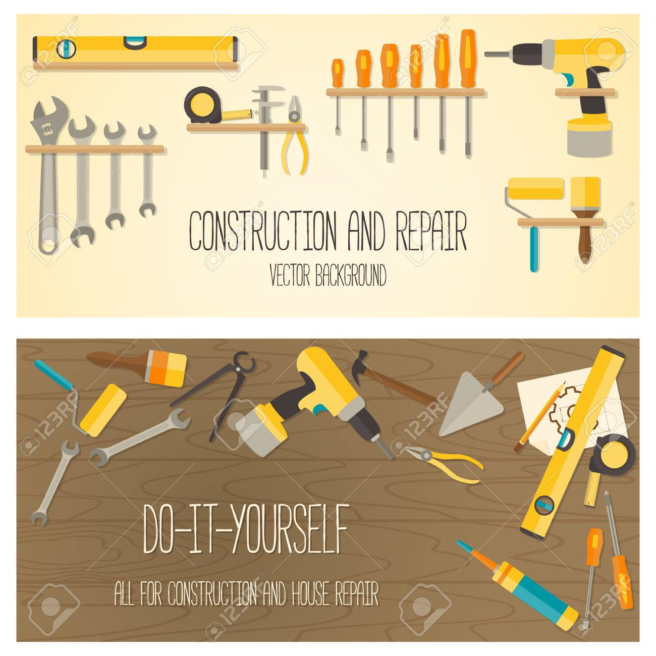 Web banner concept of diy shop vector flat design background vector web banner concept of diy shop vector flat design background with construction tools and home repair kit solutioingenieria Image collections
