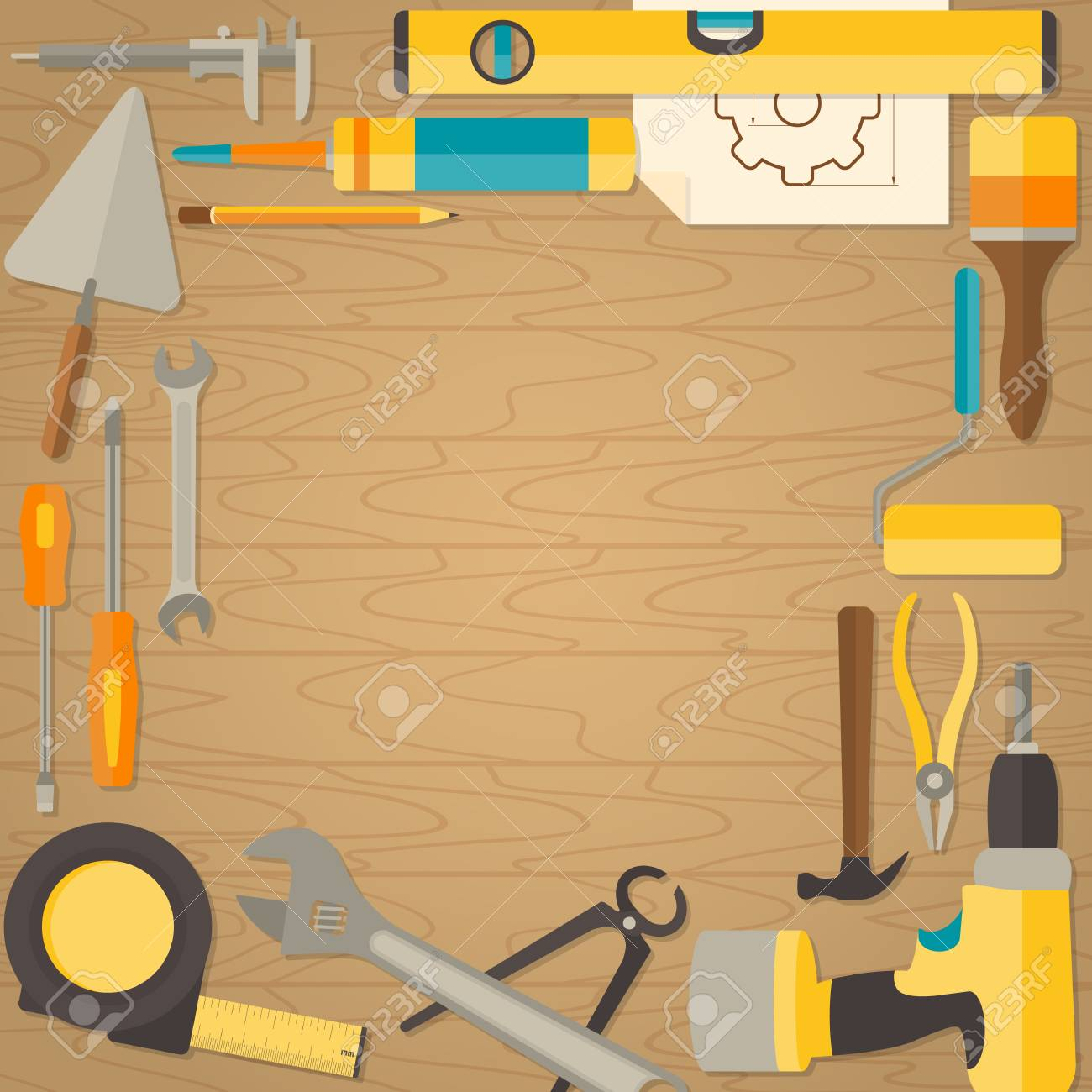 Vector flat design background with do it yourself tools for vector vector flat design background with do it yourself tools for construction and home repair on wooden surface web banner concept solutioingenieria Image collections