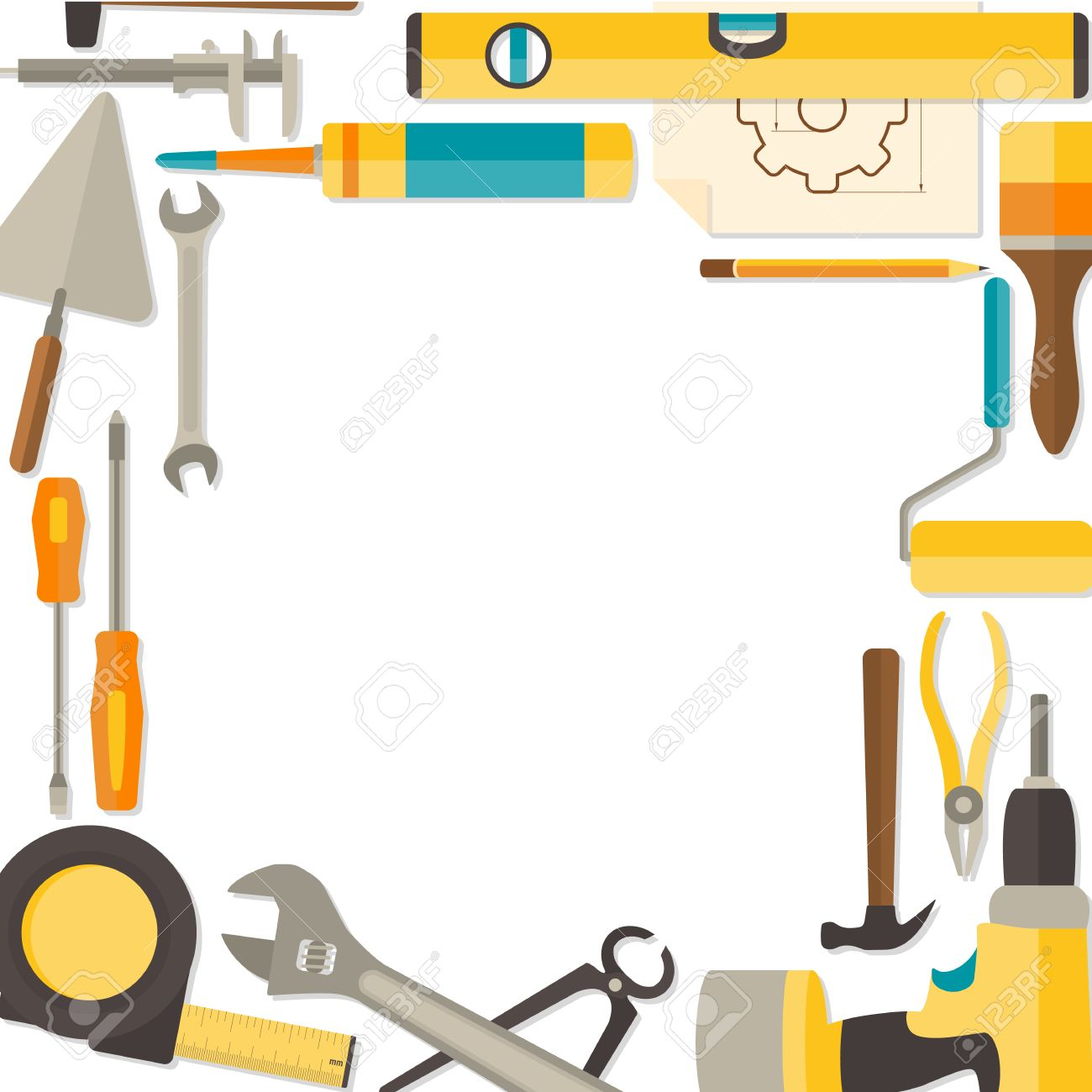 Vector flat design background with do it yourself tools for vector vector flat design background with do it yourself tools for construction and home repair isolated on white web banner concept solutioingenieria Image collections