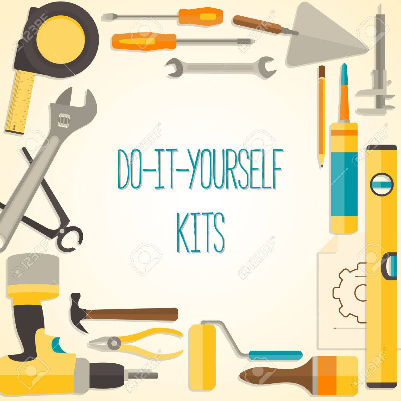 Vector flat design background with do it yourself tools for vector vector flat design background with do it yourself tools for construction and home repair web banner concept solutioingenieria Image collections