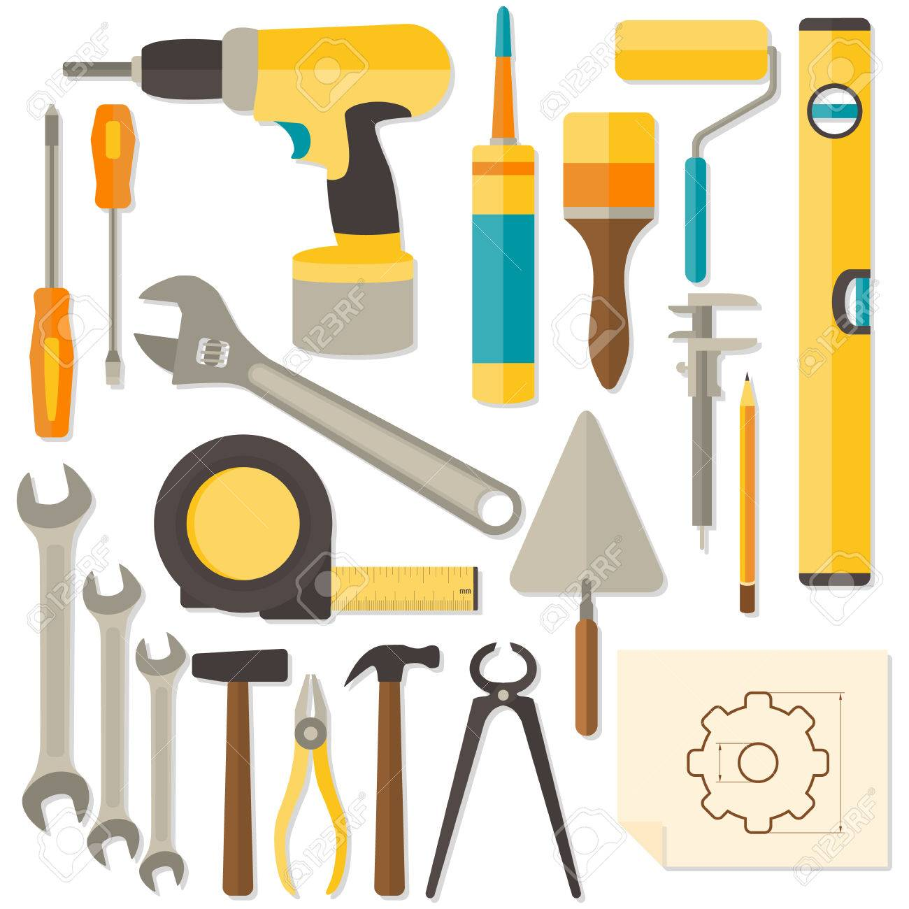 Vector Flat Design DIY And Home Renovation Tools Isolated On ...